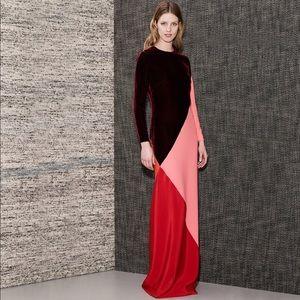 Stella McCartney Colorblocked Silk Velvet Gown